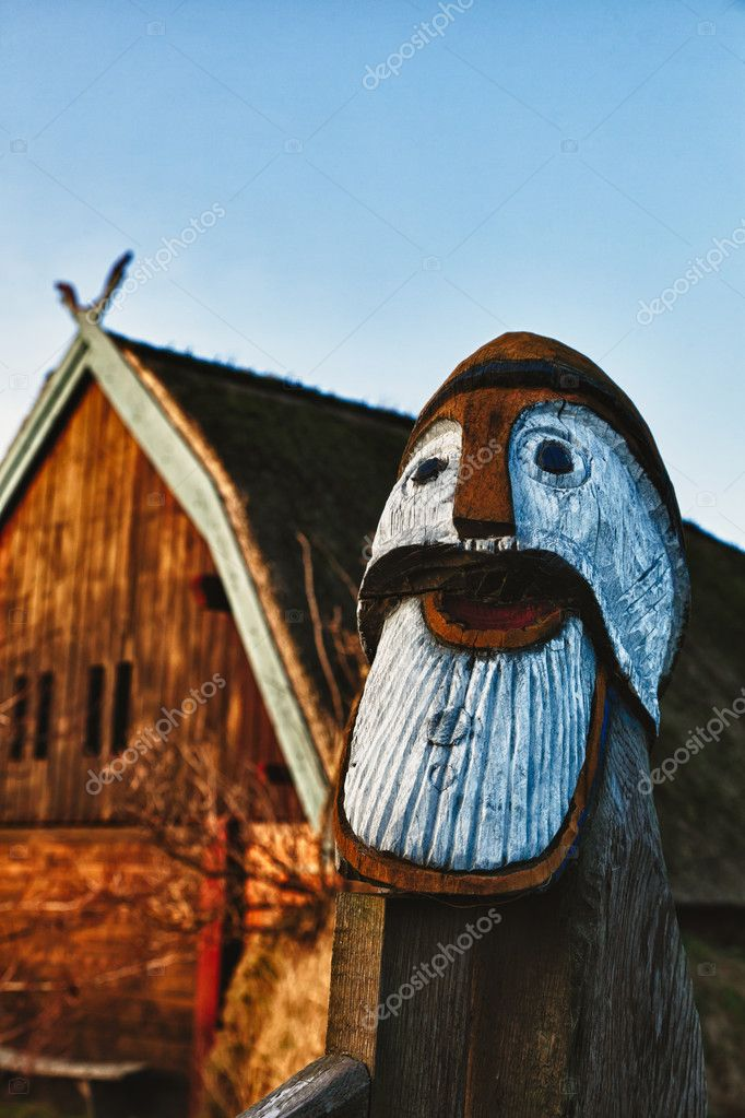 Traditional old Viking Age house hut in Bork village, Dernmark, detail — Stock Photo #8644682
