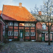 Street with old houses from royal town Ribe in Denmark — Stok fotoğraf