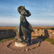 Statue of Queen Dagmar looks towards Ribe, Denmark - Stock Photo