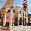 Pienza, Tuscany. Main square with historic well. — Stock Photo #8694826