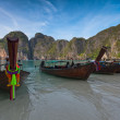 Longboats on May Beach Thailand — Stock Photo #8696946