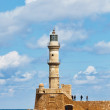 Venetian lighthouse in Chania, Greece - Stock Photo