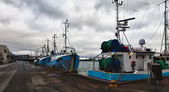 Fishing boats in a Danish harbour — Stock Photo