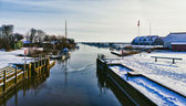 Ribe river seen from Kammerslusen lock gate, Denmark — Stock Photo
