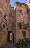 Narrow streets of Pienza, Tuscany — Stock Photo