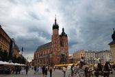 Kraków, polska. głównym placu — Zdjęcie stockowe