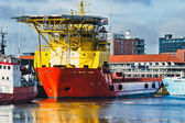 Oil Supply vessels in Esbjerg harbor, Denmark — Stock Photo