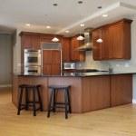 Kitchen with wraparound counter — Stock Photo
