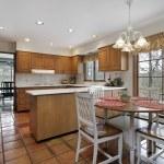 Kitchen with terra cotta flooring — Stock Photo