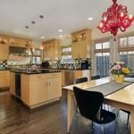 Kitchen with colored tile backsplash — Stock Photo #8656044