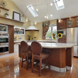 Stock Photo: Luxury kitchen with redwood cabinetry