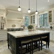 Kitchen with granite countertops - Stok fotoğraf