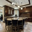 Modern kitchen with circular eating area — Stock Photo