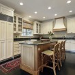 Stock Photo: Kitchen with granite and wood island