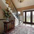 Foyer with leaded glass doors — Stock Photo