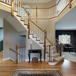 Stock Photo: Foyer with wood trim railing