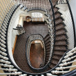 Spiral staircase with black railing - 图库照片
