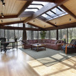 Stock Photo: Family room with skylights