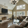 Stock Photo: Family room with stone fireplace