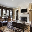 Family room with fireplace — Stock Photo