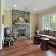 Family room with stone fireplace — Stock Photo #8658384