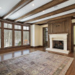 Family room with wood ceiling beams - Stockfoto