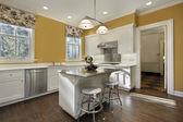 Altın duvarları ile mutfak — Stok fotoğraf