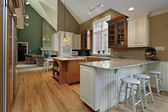 Kitchen with wood and granite island — Foto de Stock
