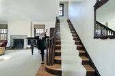 Foyer with long staircase — Stock Photo