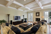 Family room with ceiling beams — Stock Photo