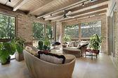 Sunroom with wicker furniture — Stock Photo