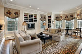 Family room with built in cabinets — Stockfoto