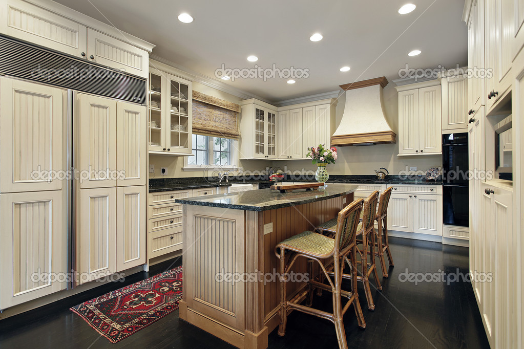 k che mit granit und holz insel stockfoto lmphot 8656423. Black Bedroom Furniture Sets. Home Design Ideas