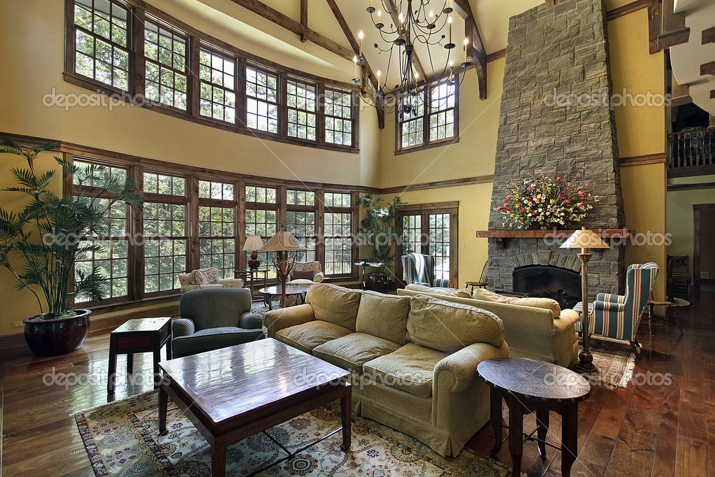 Large Family Room With Stone Fireplace Stock Photo Lmphot