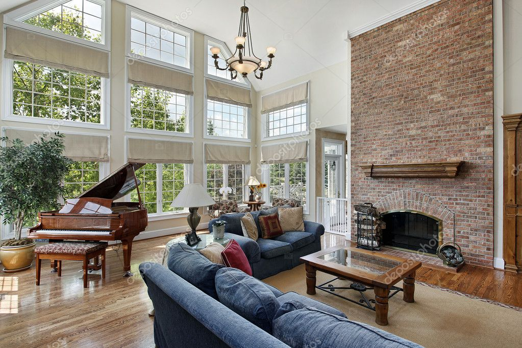 Large Family Room With Two Story Windows Stock Photo
