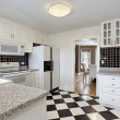 Kitchen with checkerboard floor — Stock Photo #8669733