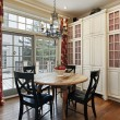 Eating area with doors to deck — Foto Stock