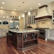 Kitchen with rectangular island — Stock Photo #8669963