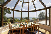 Glassed-domed breakfast room — Stock Photo