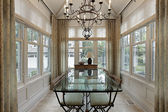 Breakfast room surrounded by windows — ストック写真