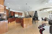 Grote keuken met zwarte open haard — Stockfoto