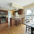 Kitchen with deck view - Stockfoto