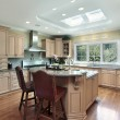 Luxury kitchen with oak wood cabinetry — Foto Stock