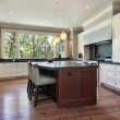 Kitchen with gray granite island — Stock Photo #8671285
