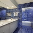 Bathroom with blue tile — Stock Photo #8677645