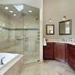 Master bath with glass shower — Stock Photo #8677904