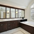 Master bath with dark cabinetry — Stock Photo