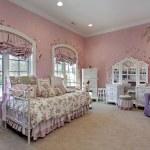 Pink bedroom in suburban home — Stock Photo
