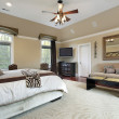 Master bedroom with tray ceiling — Stock Photo