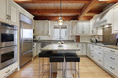 Kitchen with wood ceiling beams — Stock Photo